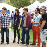 "THE LEAGUE -- ""The Other Draft"" -- Episode 701 (Airs Thursday, September 9, 10:00 pm e/p Pictured: (l-r) Jon Lajoie as Taco, Stephen Rannazzisi as Kevin, Katie Aselton as Jenny, Mark Duplass as Pete, Nick Kroll as Ruxin, Paul Scheer as Andre. CR: Patrick McElhenney/FX"