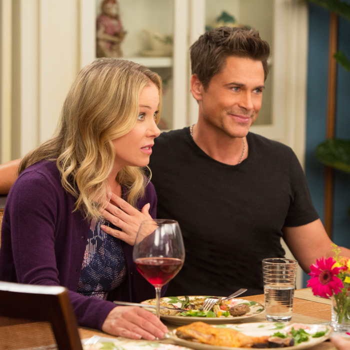 THE GRINDER: L-R: Guest star Christina Applegate and Rob Lowe in the