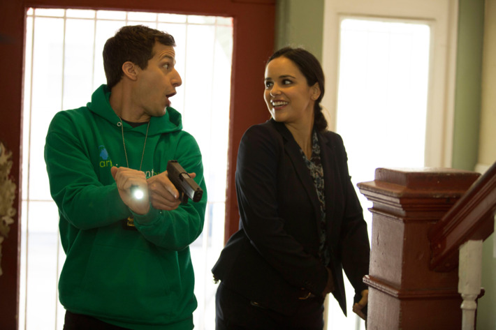 "Andy Samberg and Melissa Fumero in the ""The Mattress"" episode of BROOKLYN NINE-NINE."