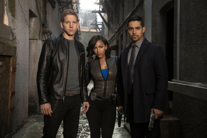 "MINORITY REPORT: L-R: Stark Sands, Meagan Good and Wilmer Valderrama in the all-new ""The American Dream"" episode of MINORITY REPORT airing Monday, Nov. 16 (9:00-10:00 PM ET/PT) on FOX. © 2015 Fox Broadcasting Co. Cr.: Katie Yu /  FOX."