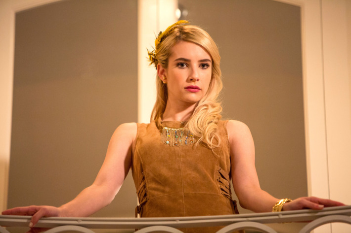 """SCREAM QUEENS: Emma Roberts in the """"Ghost Stories"""" episode of SCREAM QUEENS airing Tuesday, Nov. 17 (9:00-10:00 PM ET/PT) on FOX. ©2015 Fox Broadcasting Co. Cr: Steve Dietl/FOX."""