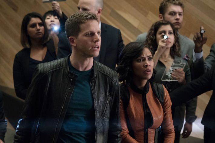 """MINORITY REPORT: L-R: Stark Sands and Meagan in the all-new """"Memento Mori"""" episode of MINORITY REPORT airing Monday, Nov. 23 (9:00-10:00 PM ET/PT) on FOX. Cr: Katie Yu / FOX. © 2015 FOX Broadcasting."""