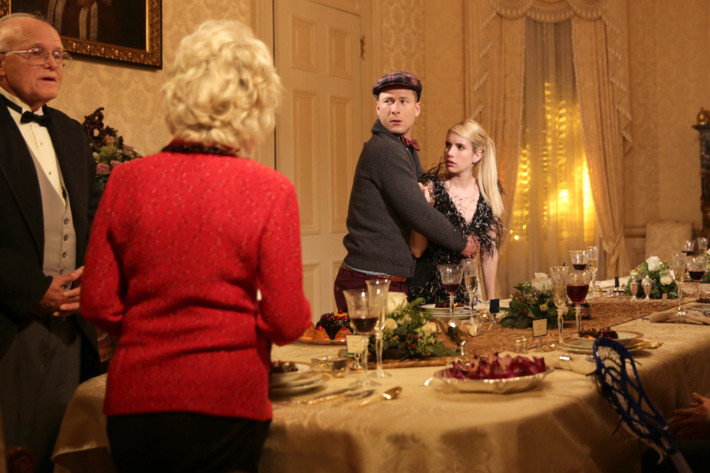 """SCREAM QUEENS: L-R: Guest stars Julia Duffy and Jerry Leggio, series stars Glen Powell and Emma Roberts, guest stars Alan Thicke, Chad Michael Murray and Patrick Schwarzenegger in the """"Thanksgiving"""" episode of SCREAM QUEENS airing Tuesday, Nov. 24 (9:00-10:00 PM ET/PT) on FOX. ©2015 Fox Broadcasting Co. Cr: Patti Perret/FOX."""