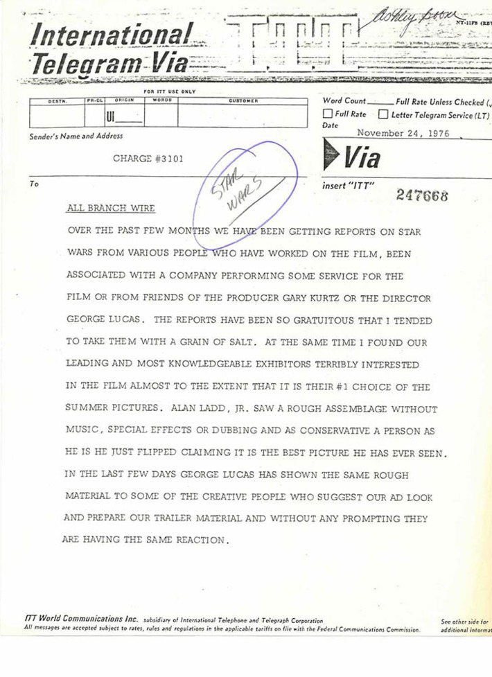 This 1976 Memo From a Studio Executive Marks the Moment
