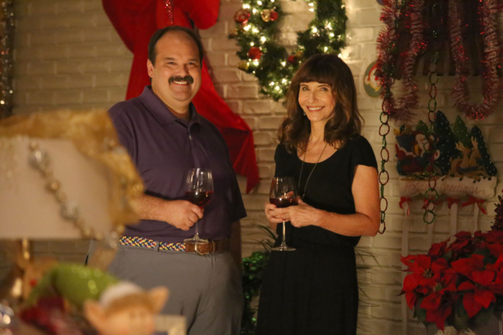 "THE LAST MAN ON EARTH:  L-R:  Mel Rodriguez and Mary Steenburgen in the ""Secret Santa"" episode of THE LAST MAN ON EARTH airing Sunday, Dec. 6 (9:30-10:00 PM ET/PT) on FOX.  ©2015 Fox Broadcasting Co.  Cr:  Kevin Estrada/FOX"