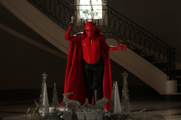 "SCREAM QUEENS: The Red Devil in the first part of the two-hour ""Dorkus"" and ""The Final Girls"" season finale episodes of SCREAM QUEENS."