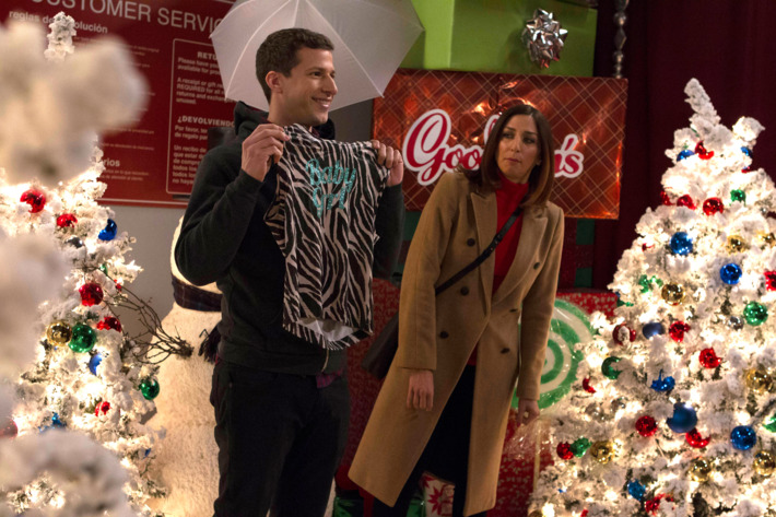 "BROOKLYN NINE-NINE: L-R: Andy Samberg and Chelsea Peretti in the ""Yippie Kayak"" episode of BROOKLYN NINE-NINE airing Sunday, Dec. 13 (8:30-9:00 PM ET/PT) on FOX ©2015 Fox Broadcasting Co. Cr: John P Fleenor"