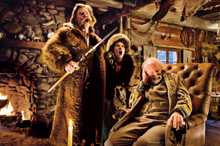 (L-R) KURT RUSSELL, JENNIFER JASON LEIGH, and BRUCE DERN star in THE HATEFUL EIGHT. Photo: Andrew Cooper, SMPSP© 2015 The Weinstein Company. All Rights Reserved.