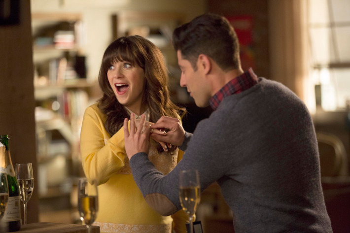 "NEW GIRL:  L-R:  Zooey Deschanel and Max Greenfield in the ""Big Mama P"" season five premiere episode of NEW GIRL airing Tuesday, Jan. 5 (8:00-8:30 PM ET/PT) on FOX.  ©2015 Fox Broadcasting Co.  Cr:  John P. Fleenor/FOX"