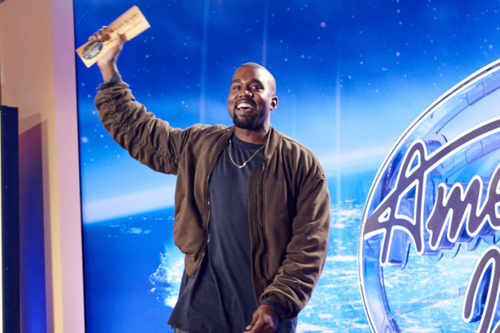 AMERICAN IDOL: Kanye West surpises the Judges and Ryan on AMERICAN IDOL by auditioning in San Francisco. Pictured: Kanye West shows off his golden ticket. AMERICAN IDOL will begin its 15th – and farewell – season with a special two-night, four-hour premiere event Wednesday, Jan. 6 (8:00-10:00 PM ET/PT) and Thursday, Jan. 7 (8:00-10:00 PM ET/PT) on FOX. AMERICAN IDOL XV continues on Wednesdays (8:00-9:00 PM ET/PT) and Thursdays (8:00-10:00 PM ET/PT).  © 2016 Fox Broadcasting Co. Cr: Michael Becker / FOX.