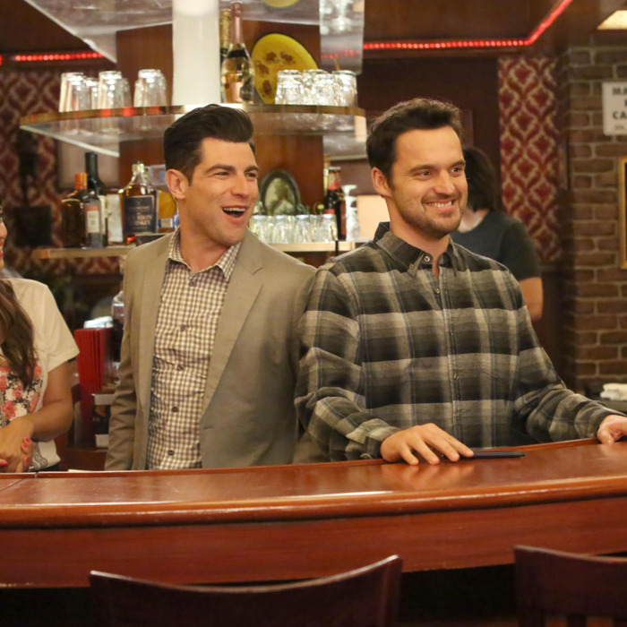NEW GIRL: L-R: Hannah Simone, Max Greenfield and Jake Johnson in the