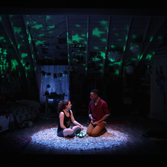 L-R: Kayla Ferguson and Reggie D. White in I AND YOU, written by Lauren Gunderson and directed by Sean Daniels, at 59E59 Theaters.