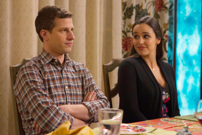 "BROOKLYN NINE-NINE: Andy Samberg and Melissa Fumero in the ""Karen Peralta"" episode of BROOKLYN NINE-NINE airing Tuesday, Feb. 2 (9:00-9:30 PM ET/PT) on FOX ©2016 Fox Broadcasting Co. CR: John P. Fleenor/FOX."