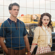 "(L-R) Ashley Zukerman as Charlie Isaacs and Rachel Brosnahan as Abby Isaacsin WGN America's ""Manhattan,"" premiering SUNDAY, JULY 27 (9 p.m. ET / 8 p.m. CT)"
