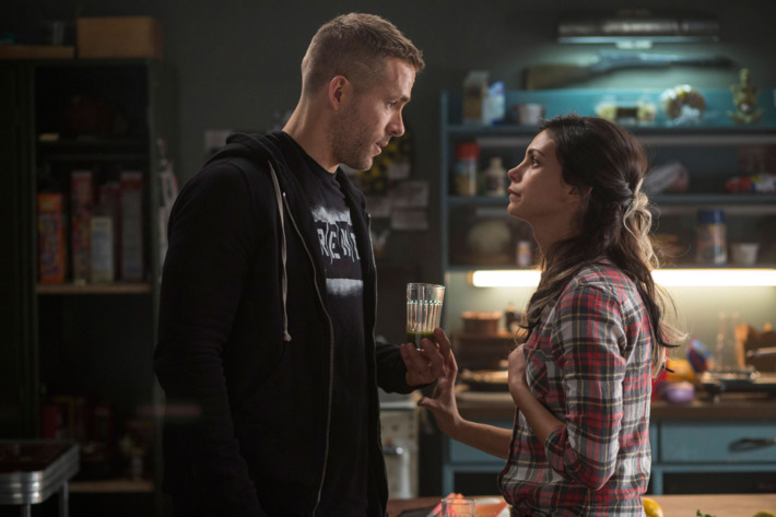 DEADPOOLWade Wilson (Ryan Reyonlds) and new squeeze Vanessa (Morena Baccarin) trade some pointed barbs, in DEADPOOL.Photo Credit: Joe LedererTM & © 2015 Marvel & Subs.  TM and © 2015 Twentieth Century Fox Film Corporation.  All rights reserved.  Not for sale or duplication.