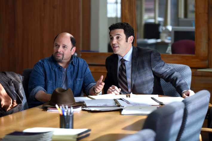 "THE GRINDER: L-R: Guest star Jason Alexander and Fred Savage in the ""The Resurrection"" episode airing Tuesday, March 1 (9:30-10:00 PM ET/PT) on FOX. ©2016 Fox Broadcasting Co. Cr: Ray Mickshaw/FOX"