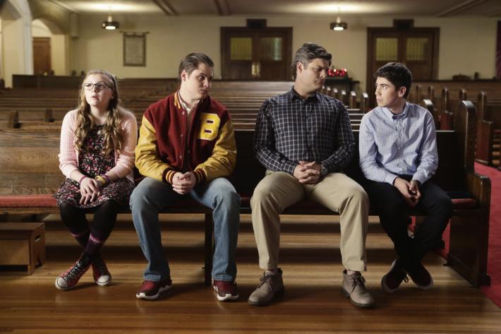 Bebe Wood as Shannon, Matt Shively as Jimmy, Jay R. Ferguson as Pat, Noah Galvin as Kenny.