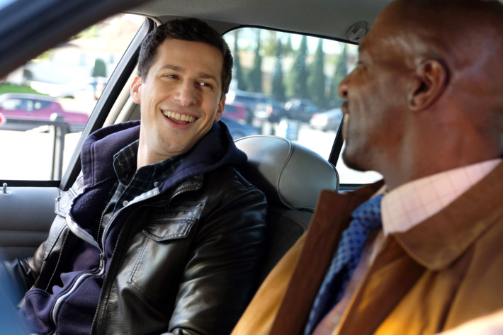 "BROOKLYN NINE-NINE: L-R: Andy Samberg and Terry Crews in the ""Terry Kitties"" episode of BROOKLYN NINE-NINE airing Tuesday, March 15 (9:00-9:30 PM ET/PT) on FOX. ©2016 Fox Broadcasting Co. CR: John P. Fleenor/FOX"