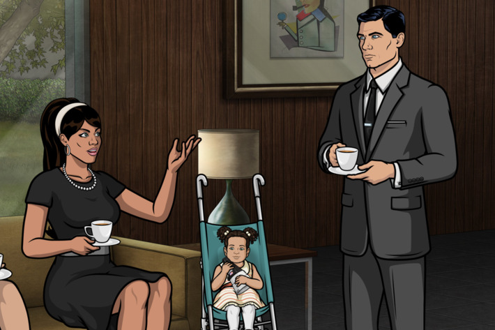 "ARCHER -- ""Deadly Prep"" -- Episode 703 (Airs Thursday, April 14, 10:00pm e/p) Pictured: (l-r) Malory Archer (voice of Jessica Walter), Lana Kane (voice of Aisha Tyler), Abbiejean, Sterling Archer (voice of H. Jon Benjamin). CR: FX"