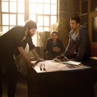 Jim Sturgess as Dion Patras, David Schwimmer as Tommy Moran, Elijah Jacob as TJ Moran; group - Feed the Beast, Season 1, Gallery _ Photo credit: Frank Ockenfels/AMC