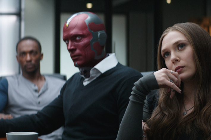 Marvel's Captain America: Civil WarL to R: Sam Wilson/Falcon (Anthony Mackie), Vision (Paul Bettany), Wanda Maximoff/Scarlet Witch (Elizabeth Olsen)Photo Credit: Film Frame© Marvel 2016