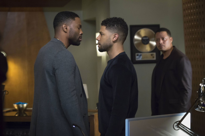 "EMPIRE: Pictured L-R: Guest star Tobias Truvillion, Jussie Smollett and Terrence Howard in the ""Rise by Sin"" episode of EMPIRE airing Wednesday, May 11 (9:00-10:00 PM ET/PT) on FOX. ©2016 Fox Broadcasting Co. CR: Chuck Hodes/FOX"