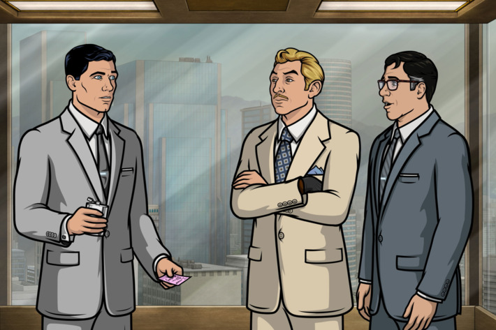 "ARCHER -- ""Double Indecency"" -- Episode 707 (Airs Thursday, May 12, 10:00pm e/p) Pictured: (l-r) Sterling Archer (voice of H. Jon Benjamin), Ray Gillette (voice of Adam Reed), Cyril Figgis (voice of Chris Parnell). CR: FX"