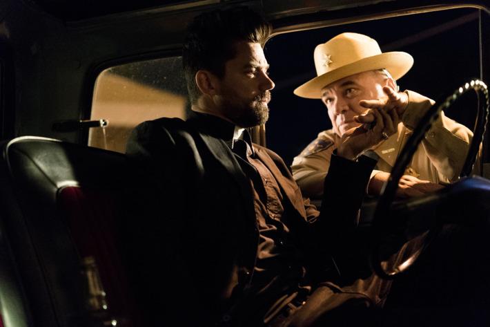 Dominic Cooper as Jesse Custer, W. Earl Brown as Hugo Root; group - Preacher _ Season 1, Pilot - Photo Credit: Lewis Jacobs/AMC