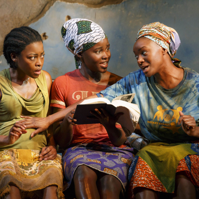 This photo provided by Joan Marcus shows from left, Pascale Armand, Lupita Nyong'o, and Saycon Sengbloh in a scene from Danai Gurira's