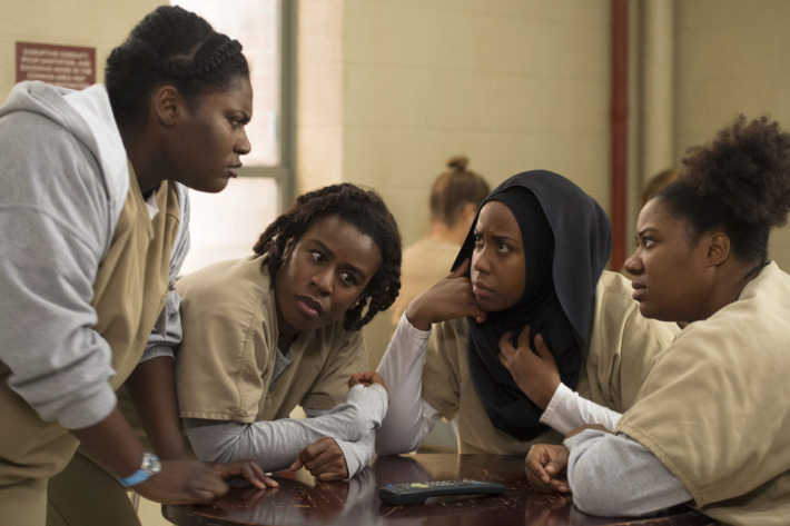 Danielle Brooks as Taystee, Uzo Aduba as Suzanne, Amanda Stephen as Alison, Adrienne C. Moore as Cindy.