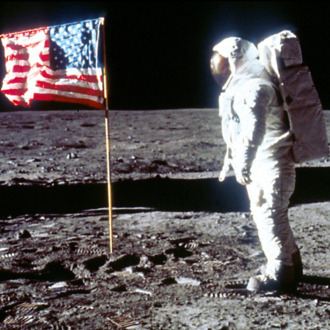 Buzz Aldrin Poses next To The U.S. flag On Moon