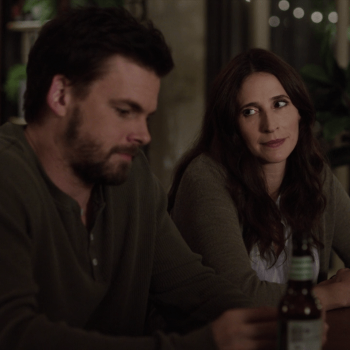 Tommy Dewey as Alex, Michaela Watkins as Valerie.