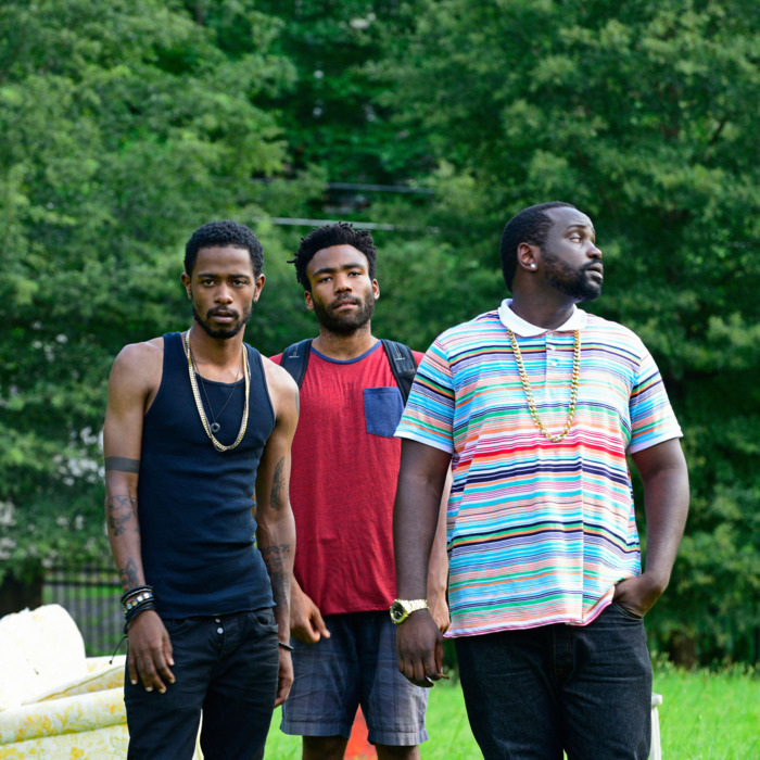 """ATLANTA -- """"The Big Bang"""" -- Episode 101 (Airs Tuesday, September 6, 10:00 pm e/p) Pictured: (l-r) Keith Standfield as Darius, Donald Glover as Earnest Marks, Brian Tyree Henry as Alfred Miles. CR: Guy D'Alema/FX"""