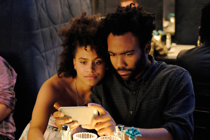 "ATLANTA -- ""Go For Broke"" -- Episode 103 (Airs Tuesday, September 13, 10:00 pm e/p) Pictured: (l-r) Zazie Beetz as Van, Donald Glover as Earnest Marks. CR: Guy D'Alema/FX"