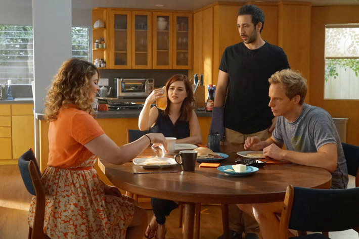 "YOU'RE THE WORST -- ""Men Get Strong"" -- Episode 304 (Airs Wednesday, September 21, 10:00 pm e/p -- Pictured: (l-r) Kether Donohue as Lindsay Jillian, Aya Cash as Gretchen Cutler, Desmin Borges as Edgar Quintero, Chris Geere as Jimmy Shive-Overly. CR: Byron Cohen/FX"