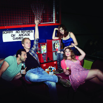 YOU'RE THE WORST -- Pictured: (l-r) Desmin Borges as Edgar, Chris Geere as Jimmy, Aya Cash as Gretchen, Kether Donohue as Lindsay. CR: Autumn de Wilde/FX
