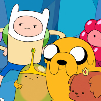 Finn is in the middle, with the skinny arms. Jake is the dog. Together, they have <em>Adventure Time</em>.