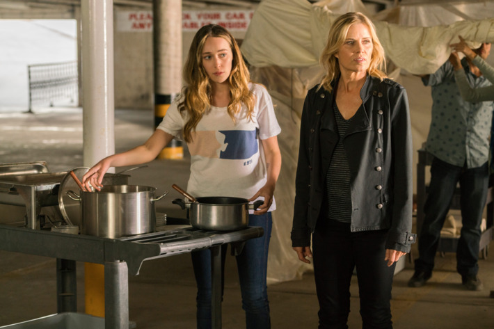 Alycia Debnam-Carey as Alicia Clark, Kim Dickens as Madison Clark - Fear the Walking Dead _ Season 2, Episode 14 - Photo Credit: Richard Foreman/AMC
