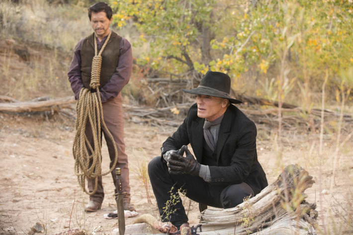 Clifton Collins Jr. as Lawrence, Ed Harris as the Man in Black.