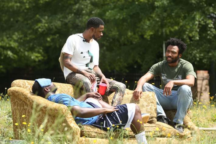 "ATLANTA -- ""The Jacket"" -- Episode 10 (Airs Tuesday, November 1, 10:00 pm e/p) Pictured: (l-r) Brian Tyree Henry as Alfred Miles, Lakeith Stanfield as Darius, Donald Glover as Earnest Marks. CR: Quantrell Colbert/FX"