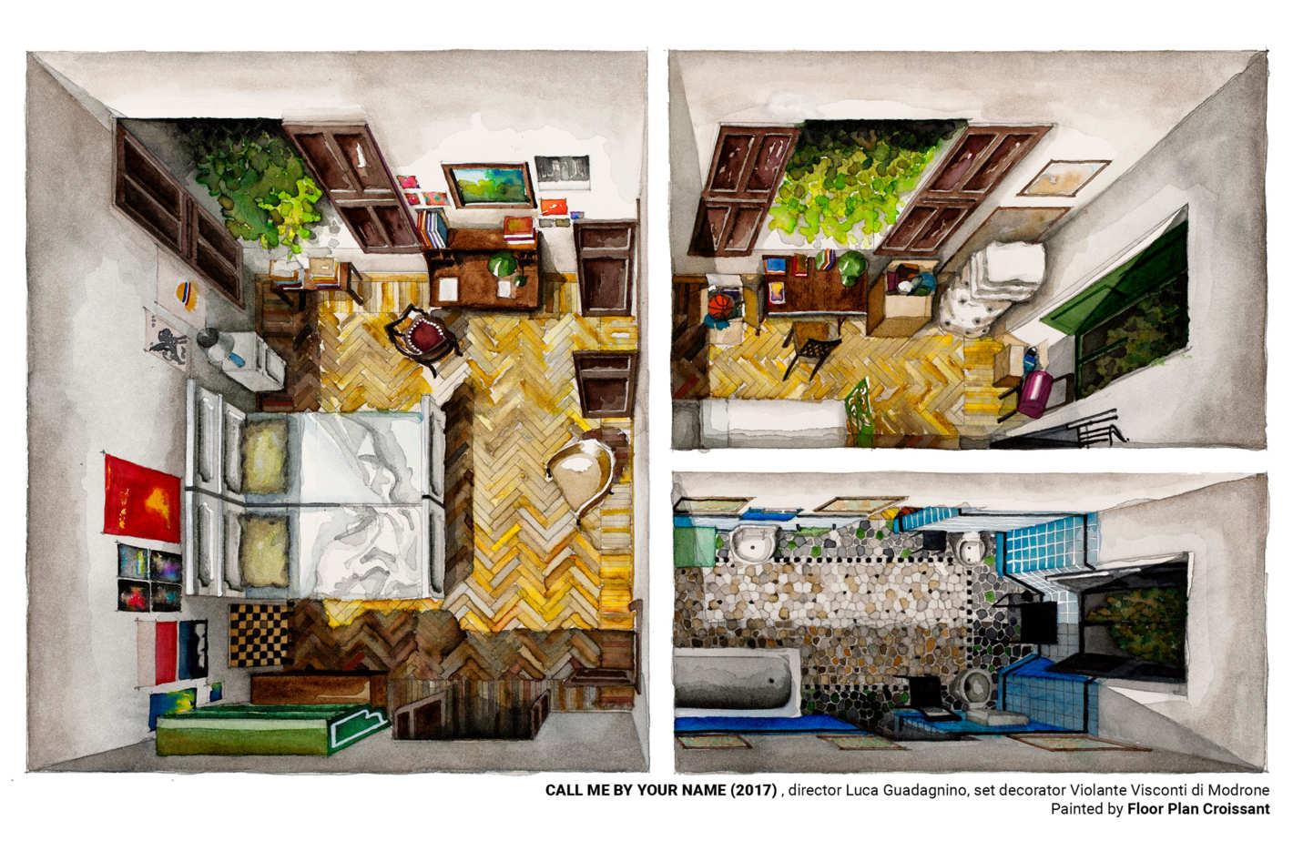 Floor Plan Croissant Watercolor Prints