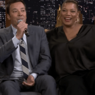 Jimmy Fallon Sings 'Earth Angel' With Queen Latifah, Kelly Clarkson, and An App