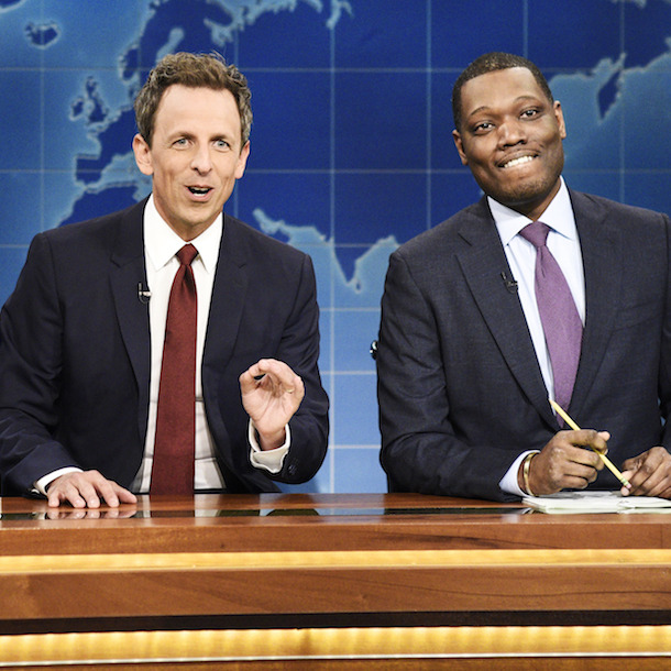 Colin Jost, Seth Meyers, and Michael Che.