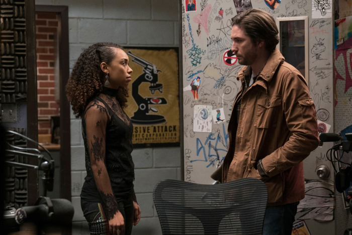 Logan Browning and John Patrick Amedori in Dear White People.