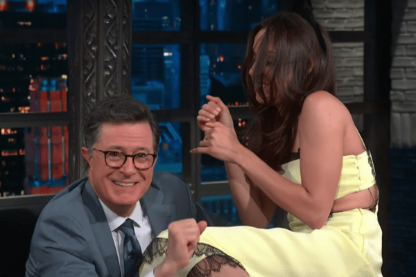 Aubrey Plaza Creates the Purrrrrrfect Ruse to Lick Stephen Colbert