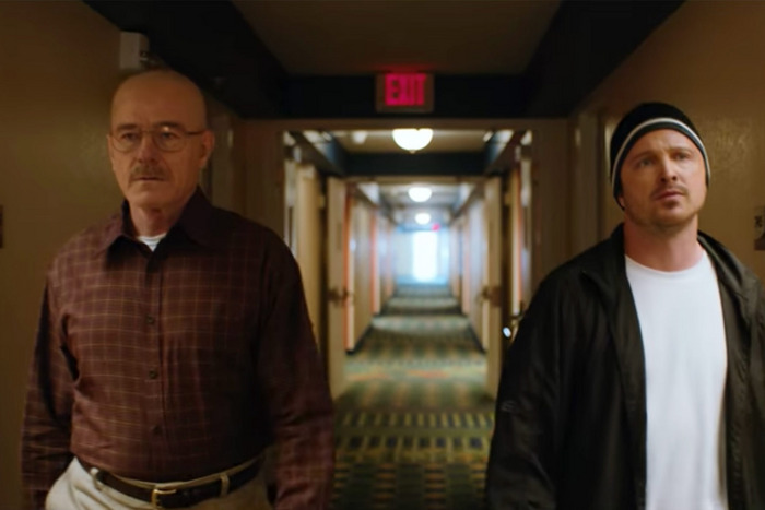 Bryan Cranston as Walt and Aaron Paul as Jesse in El Camino.