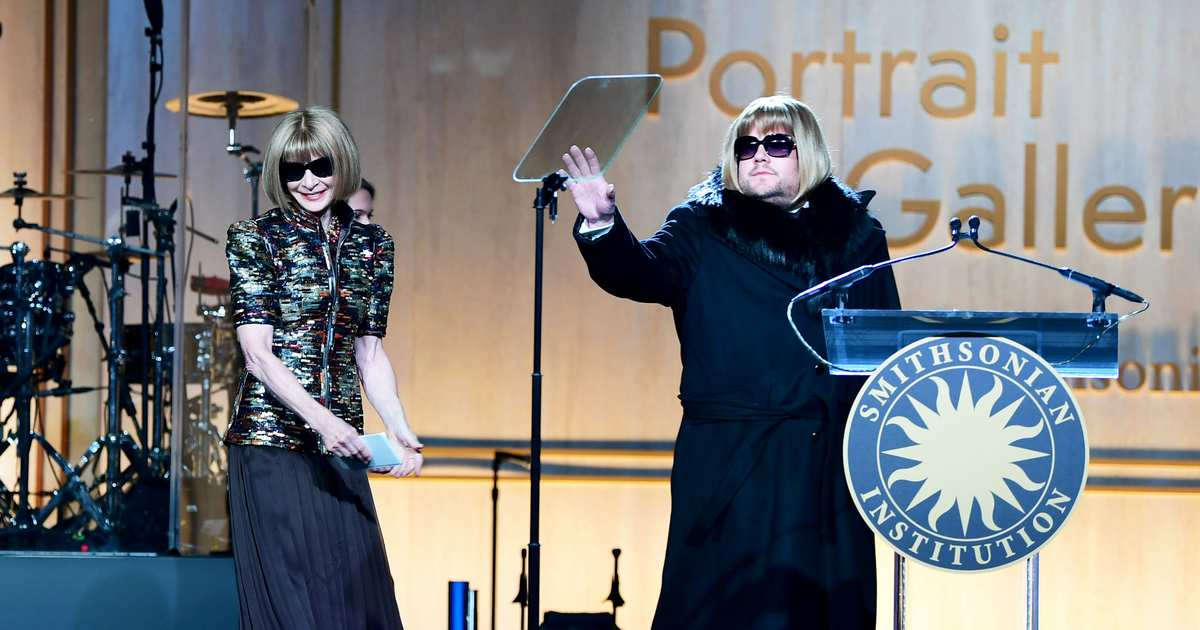 Corden Cosplays Anna Wintour at the American Portrait Gala