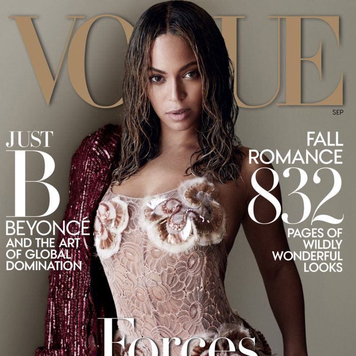 Beyoncé on the cover of <em>Vogue</em>.
