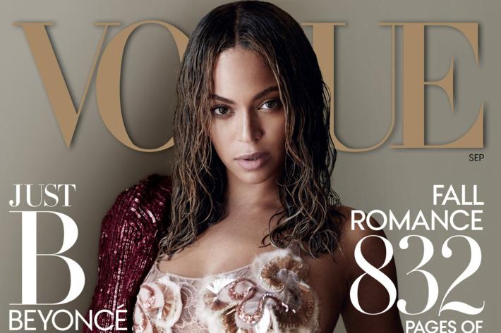 Beyoncé on the cover of <em>Vogue</em>.