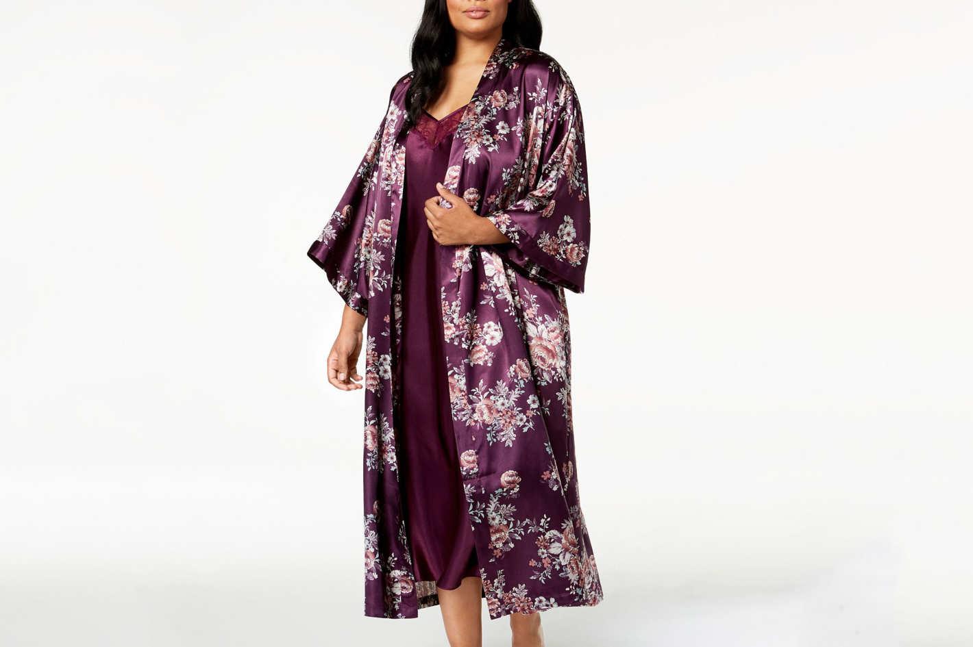 Thalia Sodi Plus Size Floral-Print Charmeuse Robe